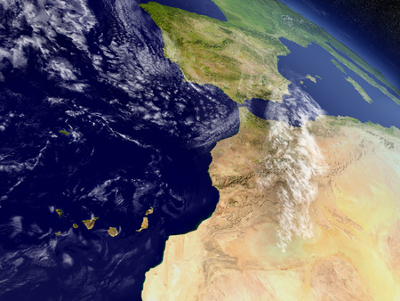 environment geography: Morocco with surrounding region as seen from Earths orbit in space. 3D illustration with highly detailed realistic planet surface and clouds in the atmosphere.