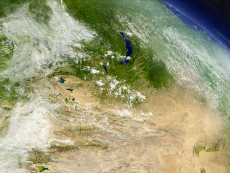 gobi: Mongolia with surrounding region as seen from Earths orbit in space. 3D illustration with highly detailed realistic planet surface and clouds in the atmosphere.