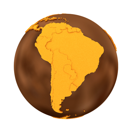 crusty: South America on chocolate model of planet Earth. Sweet crusty continents with embossed countries and oceans made of dark chocolate. 3D illustration isolated on white background.
