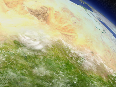 desertification: Chad with surrounding region as seen from Earths orbit in space. 3D illustration with highly detailed realistic planet surface and clouds in the atmosphere.