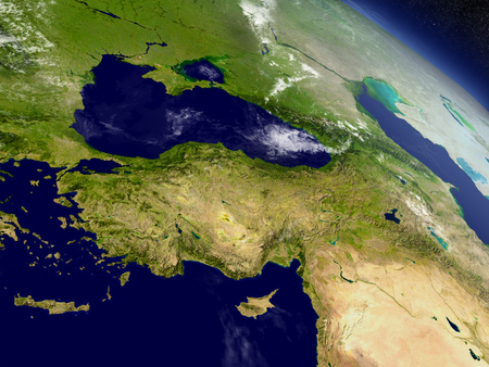 Turkey with surrounding region as seen from Earths orbit in space. 3D illustration with highly detailed realistic planet surface and clouds in the atmosphere.