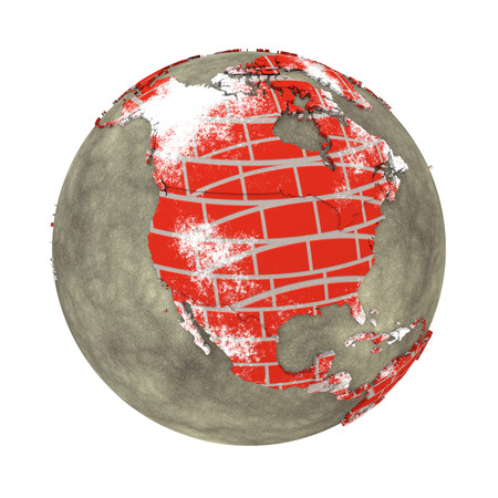 brick earth: North America on brick wall model of planet Earth with continents made of red bricks and oceans of wet concrete. Concept of global construction. 3D illustration isolated on white background.