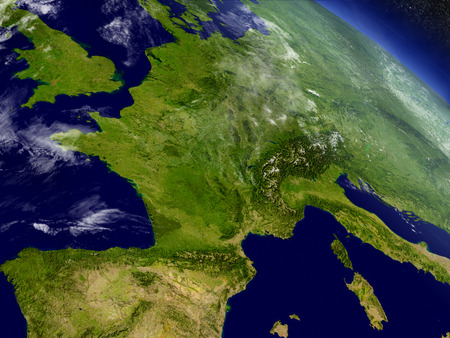 european alps: France with surrounding region as seen from Earths orbit in space. 3D illustration with highly detailed realistic planet surface and clouds in the atmosphere. Stock Photo