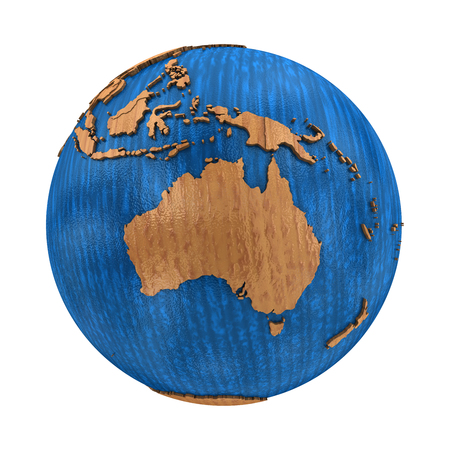 australasia: Australia on wooden model of planet Earth with embossed continents and visible country borders. 3D illustration isolated on white background.
