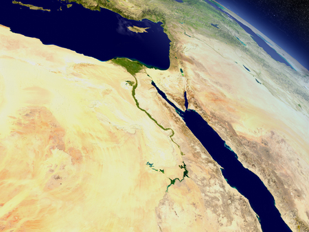 Egypt with surrounding region as seen from Earth's orbit in space. 3D illustration with highly detailed realistic planet surface and clouds in the atmosphere.