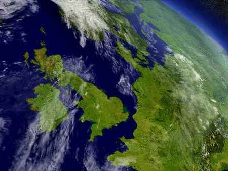 irish map: United Kingdom with surrounding region as seen from Earths orbit in space. 3D illustration with highly detailed realistic planet surface and clouds in the atmosphere.