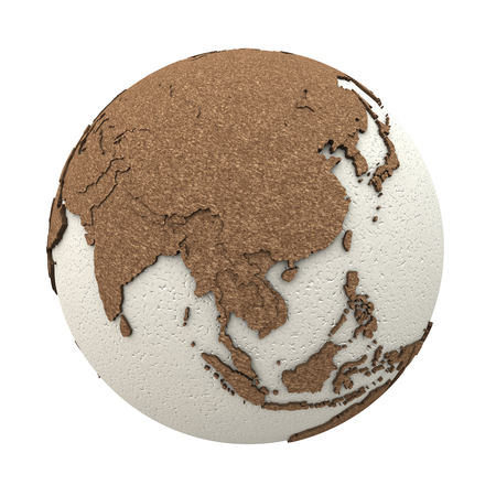 the oceans: Southeast Asia on 3D model of planet Earth with oceans made of polystyrene and continents made of cork with embossed countries. 3D illustration isolated on white background. Stock Photo