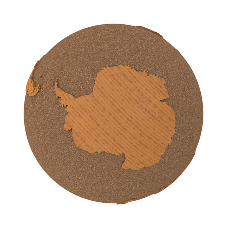 antarctica: Antarctica on 3D model of wooden planet Earth with oceans made of cork and wooden continents with embossed countries. 3D illustration isolated on white background. Stock Photo