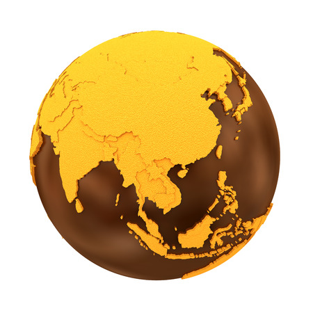crusty: Southeast Asia on chocolate model of planet Earth. Sweet crusty continents with embossed countries and oceans made of dark chocolate. 3D illustration isolated on white background.