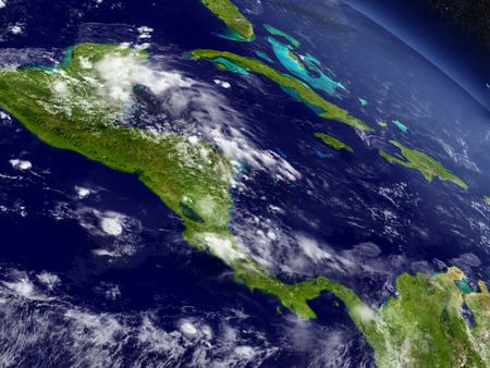 central america: Central America with surrounding region as seen from Earths orbit in space. 3D illustration with highly detailed realistic planet surface and clouds in the atmosphere.