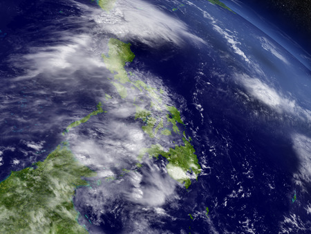 filipino: Philippines with surrounding region as seen from Earths orbit in space. 3D illustration with highly detailed realistic planet surface and clouds in the atmosphere.
