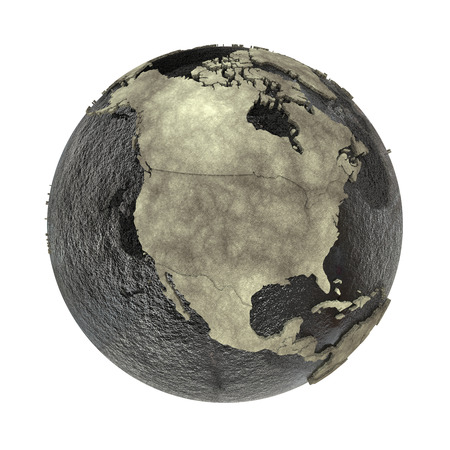 North America on 3D model of planet Earth with black oily oceans and concrete continents with embossed countries. Concept of petroleum industry. 3D illustration isolated on white background. Stock Photo