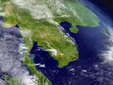 earth map: Thailand with surrounding region as seen from Earths orbit in space. 3D illustration with highly detailed realistic planet surface and clouds in the atmosphere.