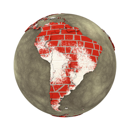 latin americans: South America on brick wall model of planet Earth with continents made of red bricks and oceans of wet concrete. Concept of global construction. 3D illustration isolated on white background. Stock Photo