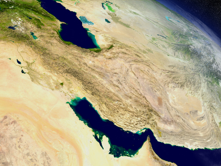 environment geography: Iran with surrounding region as seen from Earths orbit in space. 3D illustration with highly detailed realistic planet surface and clouds in the atmosphere.