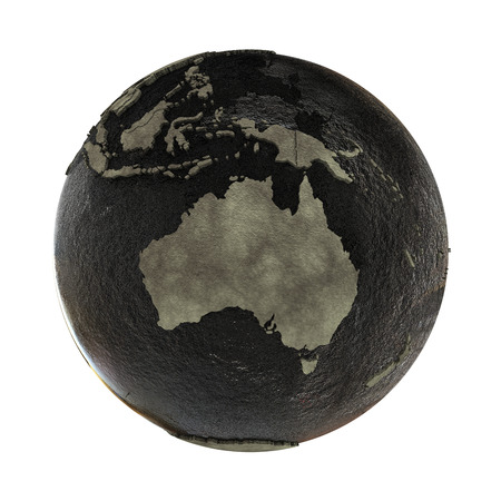 oily: Australia on 3D model of planet Earth with black oily oceans and concrete continents with embossed countries. Concept of petroleum industry. 3D illustration isolated on white background. Stock Photo