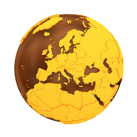 crusty: Europe on chocolate model of planet Earth. Sweet crusty continents with embossed countries and oceans made of dark chocolate. 3D illustration isolated on white background.