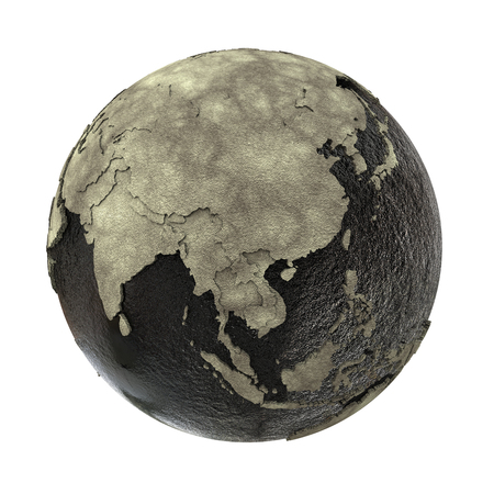 sea disaster: Southeast Asia on 3D model of planet Earth with black oily oceans and concrete continents with embossed countries. Concept of petroleum industry. 3D illustration isolated on white background. Stock Photo