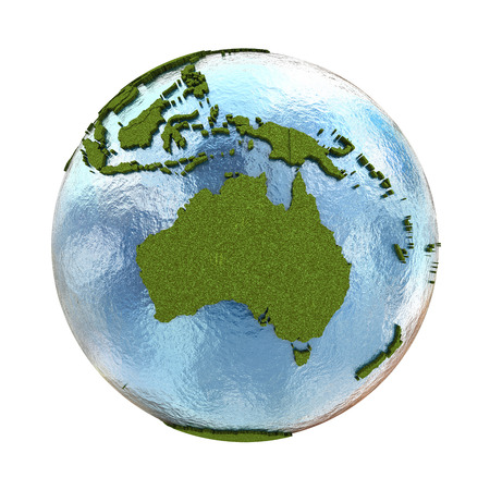 grassy: Australia on 3D model of planet Earth with grassy continents with embossed countries and blue ocean. 3D illustration isolated on white background. Stock Photo