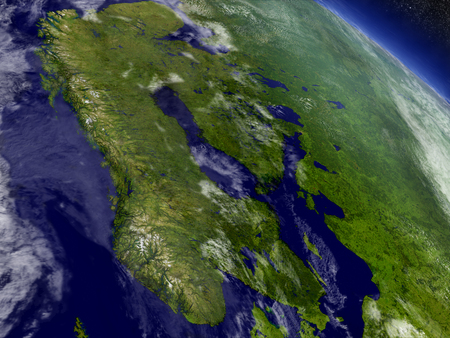 scandinavia: Scandinavia with surrounding region as seen from Earths orbit in space. 3D illustration with highly detailed realistic planet surface and clouds in the atmosphere.