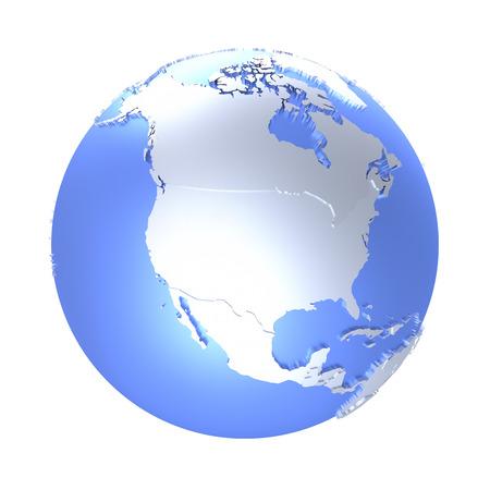 Norteamérica el modelo metálico brillante del planeta tierra con el océano azul y los continentes en relieve brillantes con las fronteras del país visibles. Ilustración 3D aislada en el fondo blanco.