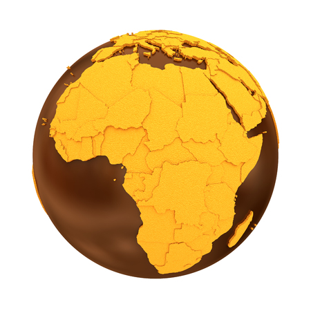 crusty: Africa on chocolate model of planet Earth. Sweet crusty continents with embossed countries and oceans made of dark chocolate. 3D illustration isolated on white background.