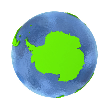 antarctica: Antarctica on elegant green 3D model of planet Earth with realistic watery blue ocean and green continents with visible country borders. 3D illustration isolated on white background.