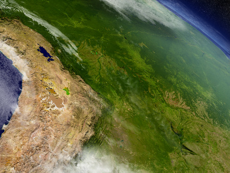 an orbit: Bolivia with surrounding region as seen from Earths orbit in space. 3D illustration with highly detailed realistic planet surface and clouds in the atmosphere. Stock Photo