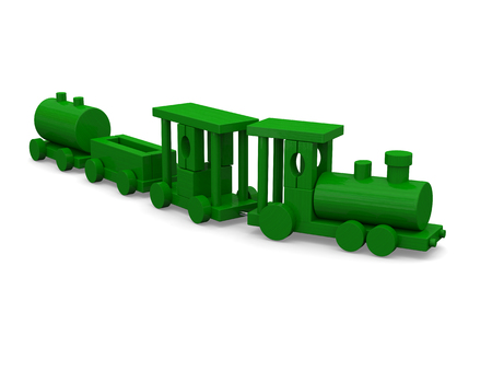 loco: 3D rendering of toy train isolated on white background.