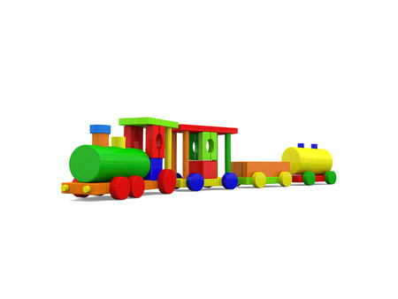 loco: Colorful toy train isolated on white background. 3D illustration.