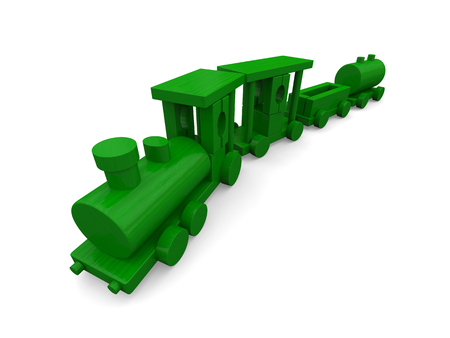 loco: 3D illustration of toy train isolated on white background.