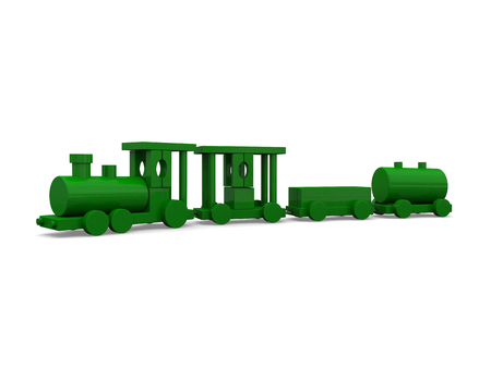 loco: 3D illustration of green toy train isolated on white background.