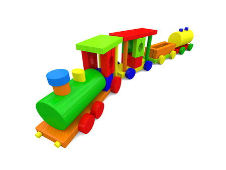 loco: 3D illustration of colorful toy train isolated on white background.