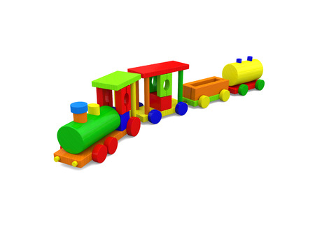 wooden toy: Colorful wooden toy train isolated on white background. 3D illustration.