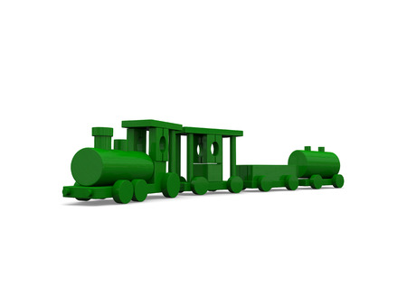 loco: Green toy train isolated on white background. 3D illustration.