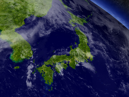 shikoku: Japan with surrounding region as seen from Earths orbit in space. 3D illustration with highly detailed realistic planet surface and clouds in the atmosphere. Stock Photo