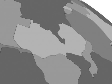 malawian: Map of Zambia on grey model of Earth. 3D illustration