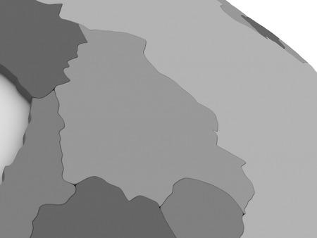 mapa de bolivia: Mapa de Bolivia el modelo gris de la Tierra. ilustración 3D