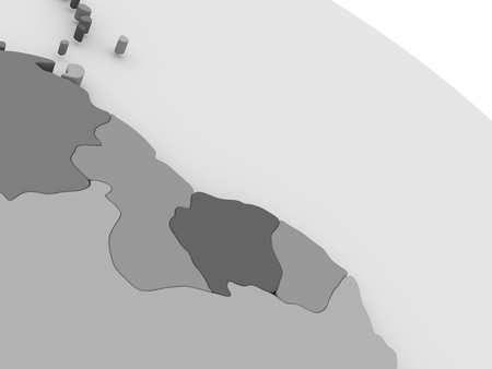 guyanese: Map of Guynea and Suriname  on grey model of Earth. 3D illustration