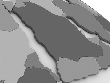 peninsula: Map of Arab peninsula on grey model of Earth. 3D illustration
