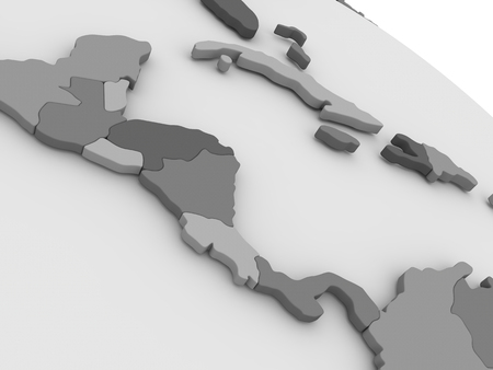 central america: Map of Central America on grey model of Earth. 3D illustration Stock Photo