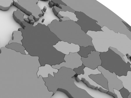 central europe: Map of Central Europe on grey model of Earth. 3D illustration