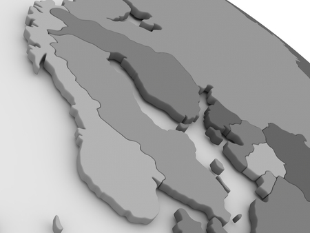 scandinavia: Map of Scandinavia on grey model of Earth. 3D illustration
