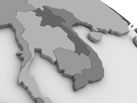 cambodian flag: Map of Laos and Cambodia on grey model of Earth. 3D illustration Stock Photo