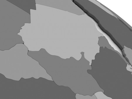 south sudan: Map of Sudan and South Sudan on grey model of Earth. 3D illustration Stock Photo