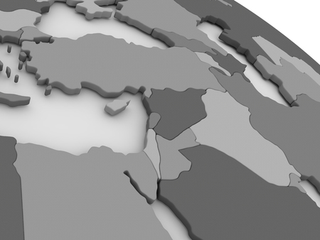 middle east: Map of Middle East on grey model of Earth. 3D illustration Stock Photo