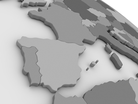 portugese: Map of Spain and Portugal on grey model of Earth. 3D illustration Stock Photo