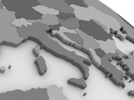 sardinia: Map of Italy on grey model of Earth. 3D illustration