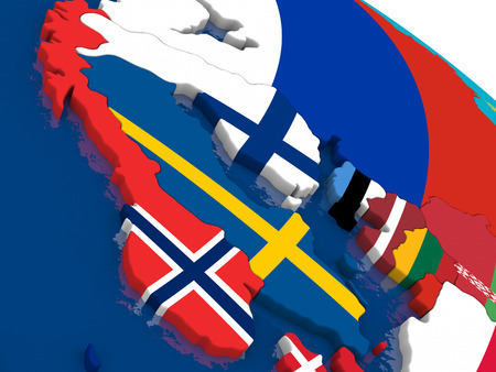 scandinavia: Map of Scandinavia with embedded flags on 3D political map. Accurate official colors of flags. 3D illustration Stock Photo