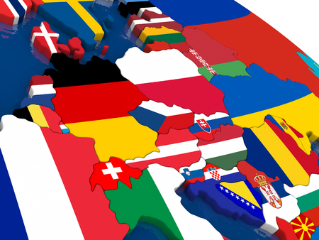 central europe: Map of Central Europe with embedded flags on 3D political map. Accurate official colors of flags. 3D illustration Stock Photo
